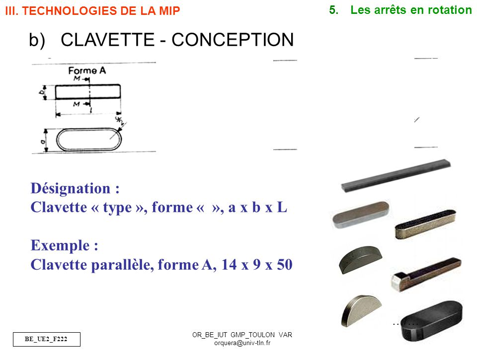CLAVETTE - CONCEPTION Désignation :