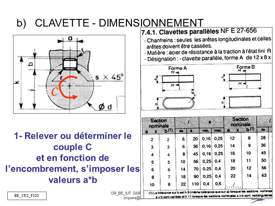 C CLAVETTE - DIMENSIONNEMENT 1- Relever ou déterminer le couple C