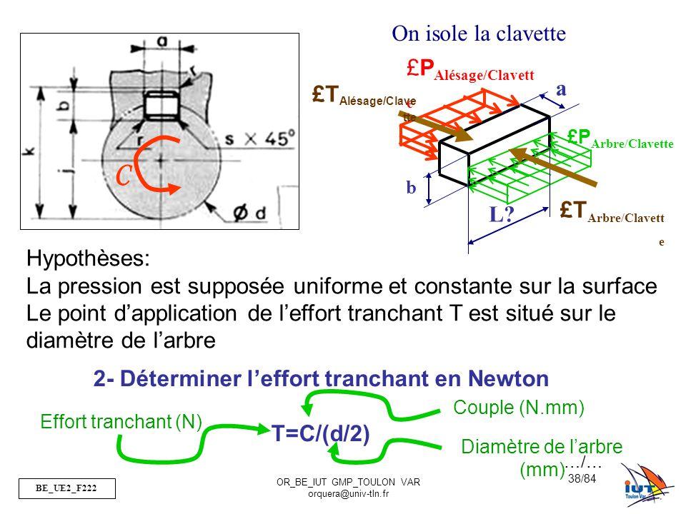 2- Déterminer l'effort tranchant en Newton