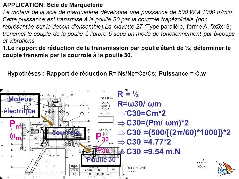 Hypothèses : Rapport de réduction R= Ns/Ne=Ce/Cs; Puissance = C.w