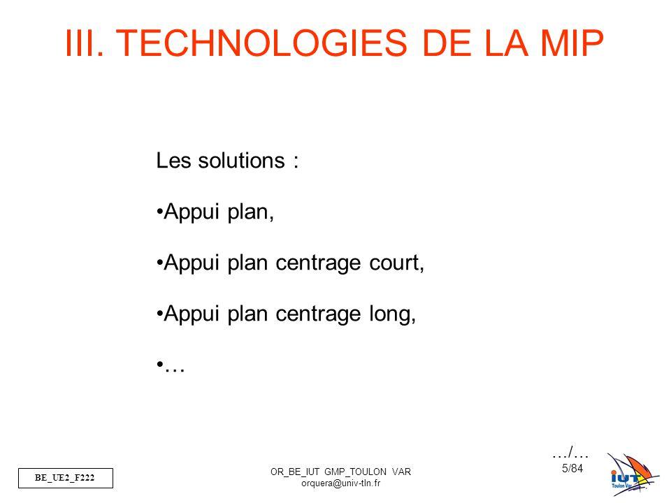 III. TECHNOLOGIES DE LA MIP