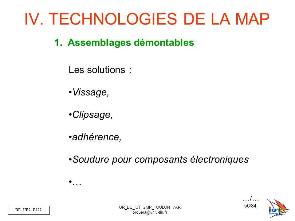 IV. TECHNOLOGIES DE LA MAP