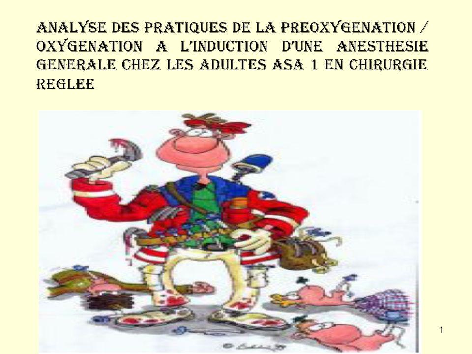 ANALYSE DES PRATIQUES DE LA PREOXYGENATION / OXYGENATION A L'INDUCTION D'UNE ANESTHESIE GENERALE CHEZ LES ADULTES ASA 1 EN CHIRURGIE REGLEE