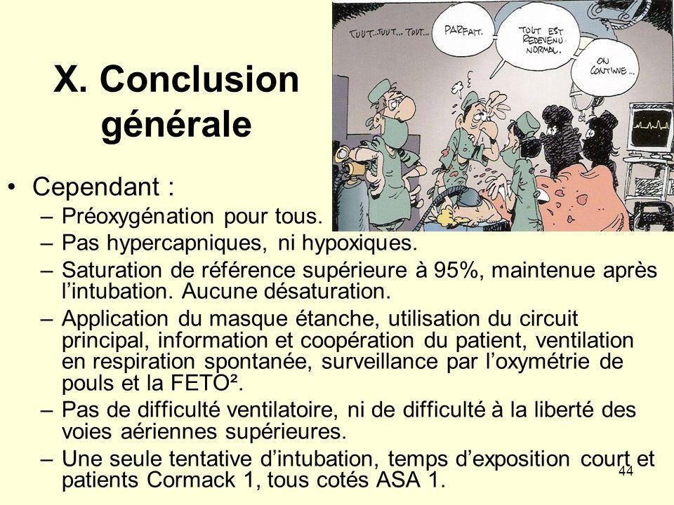 X. Conclusion générale Cependant : Préoxygénation pour tous.