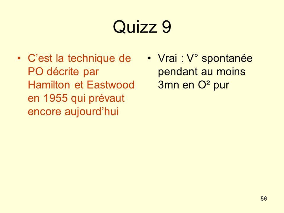 Quizz 9 C'est la technique de PO décrite par Hamilton et Eastwood en 1955 qui prévaut encore aujourd'hui.