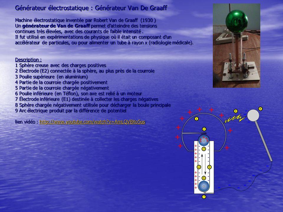 Générateur électrostatique : Générateur Van De Graaff Machine électrostatique inventée par Robert Van de Graaff (1930 ) Un générateur de Van de Graaff permet d atteindre des tensions continues très élevées, avec des courants de faible intensité .