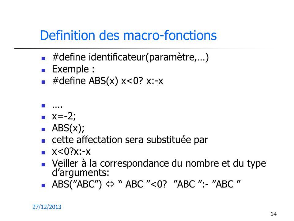 Definition des macro-fonctions