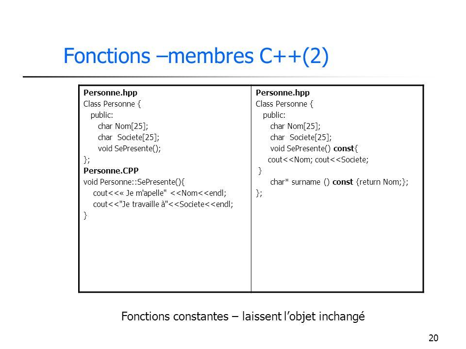 Fonctions –membres C++(2)