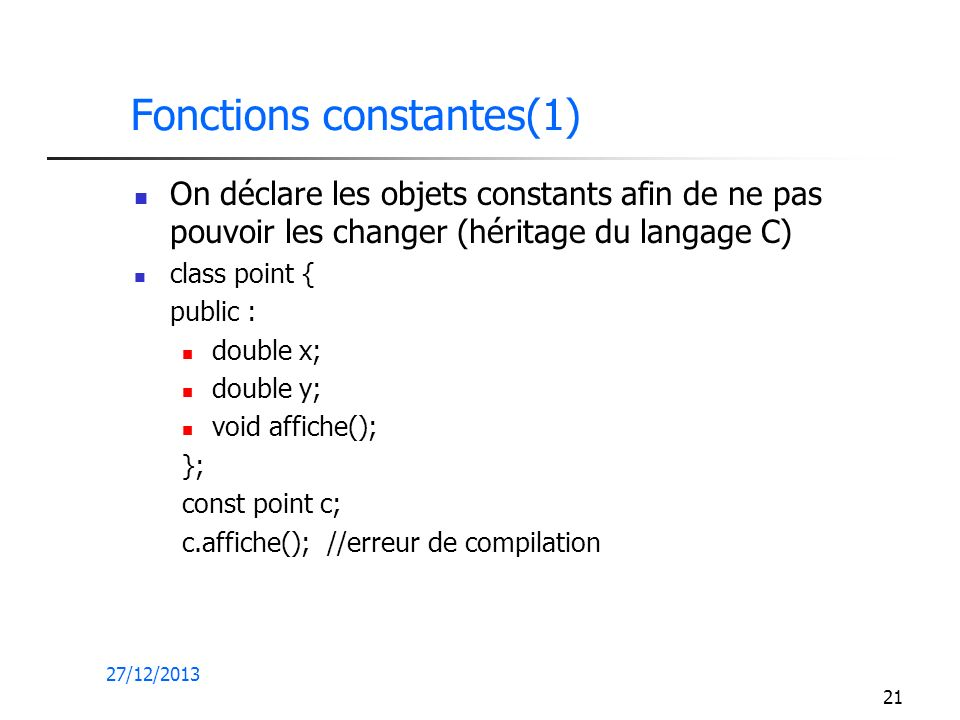 Fonctions constantes(1)