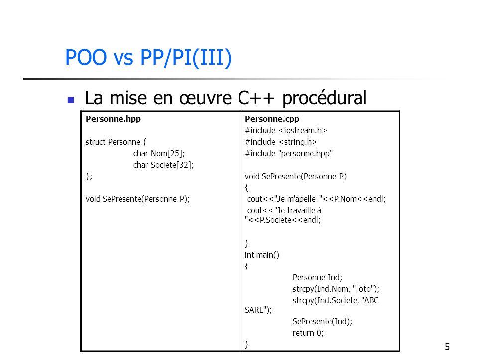 POO vs PP/PI(III) La mise en œuvre C++ procédural Personne.hpp