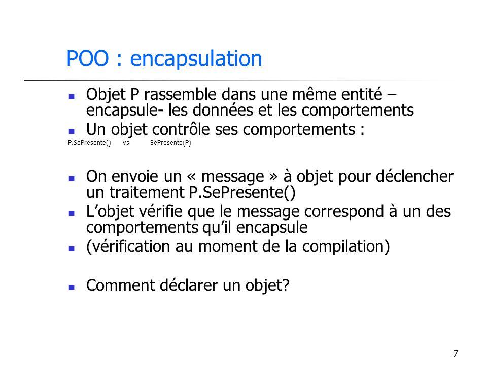 POO : encapsulation Objet P rassemble dans une même entité – encapsule- les données et les comportements.