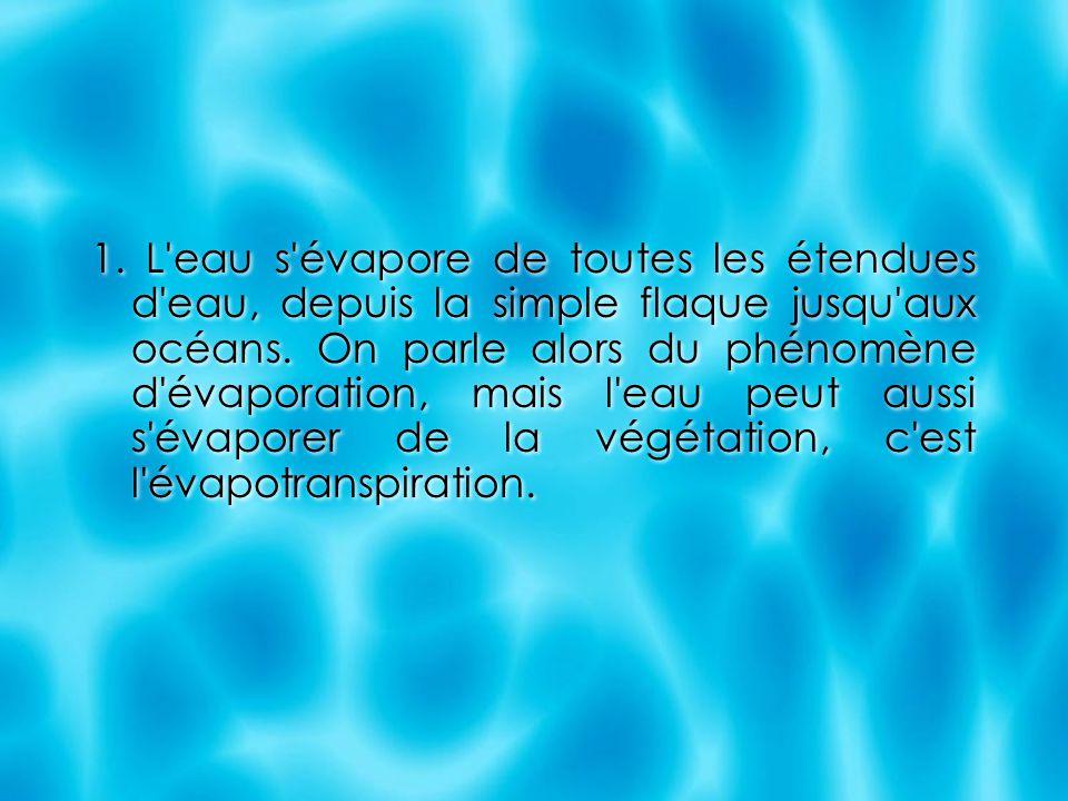 1. L eau s évapore de toutes les étendues d eau, depuis la simple flaque jusqu aux océans.