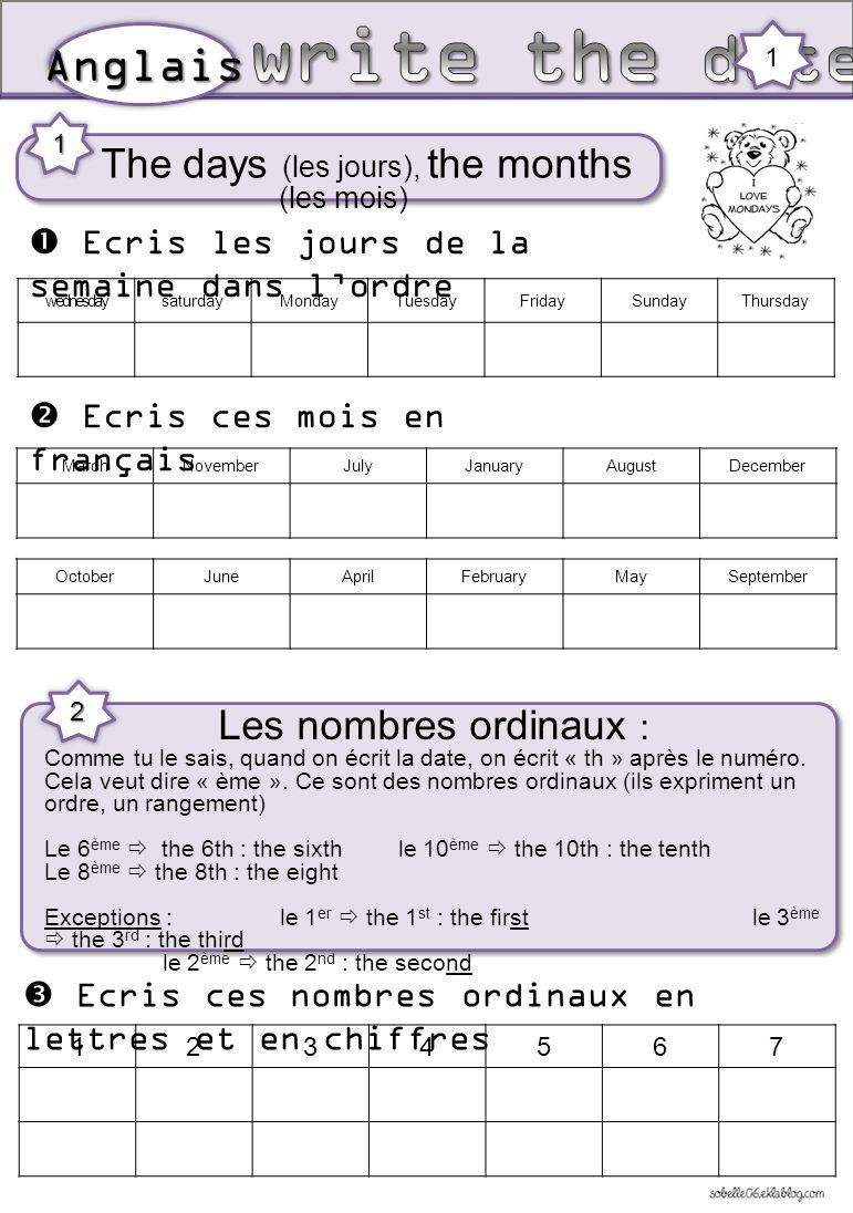 The days (les jours), the months (les mois)