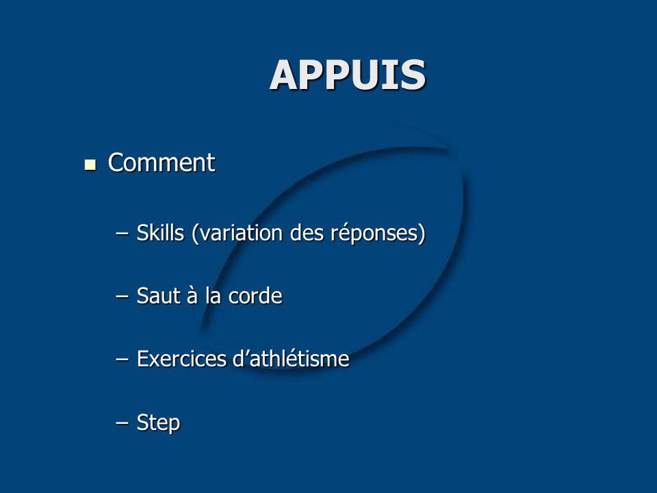 APPUIS Comment Skills (variation des réponses) Saut à la corde