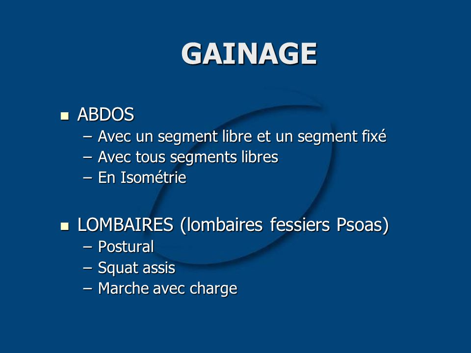 GAINAGE ABDOS LOMBAIRES (lombaires fessiers Psoas)