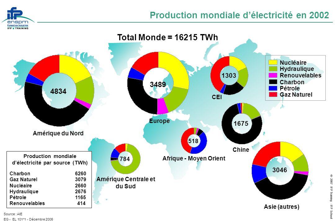 Production mondiale d'électricité en 2002