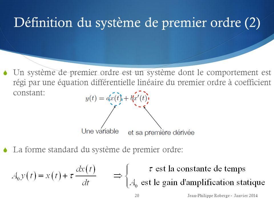 Définition du système de premier ordre (2)
