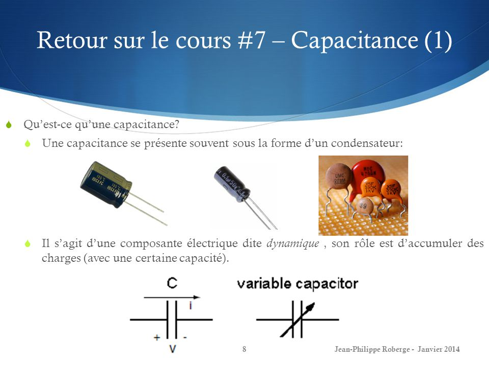 Retour sur le cours #7 – Capacitance (1)