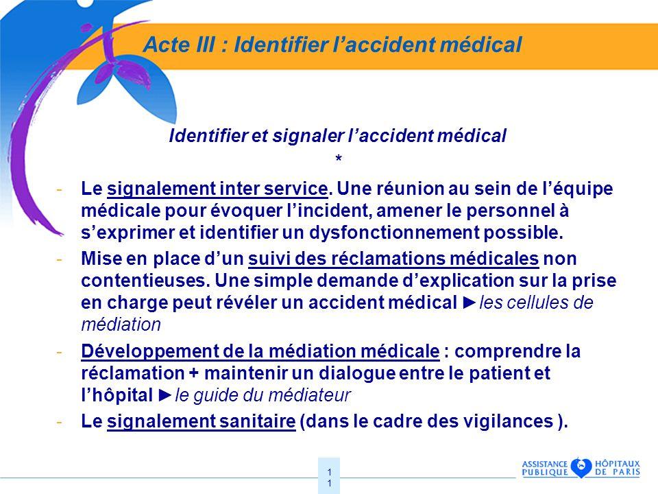 Acte III : Identifier l'accident médical