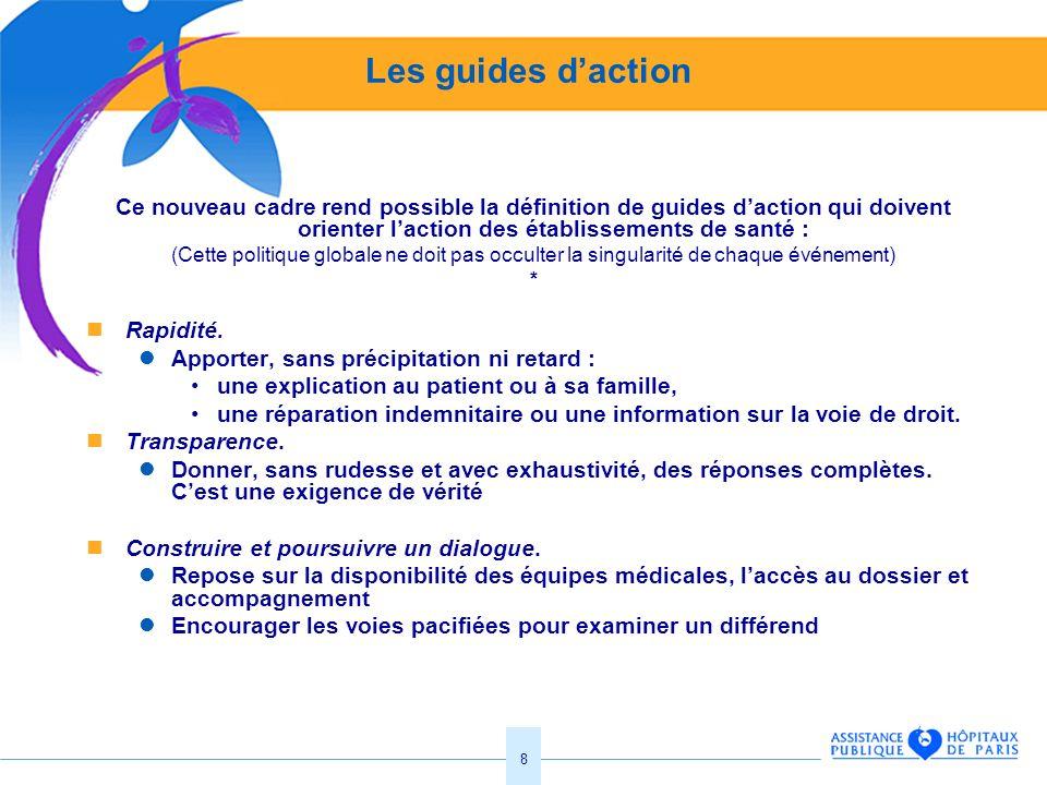Les guides d'action Ce nouveau cadre rend possible la définition de guides d'action qui doivent orienter l'action des établissements de santé :