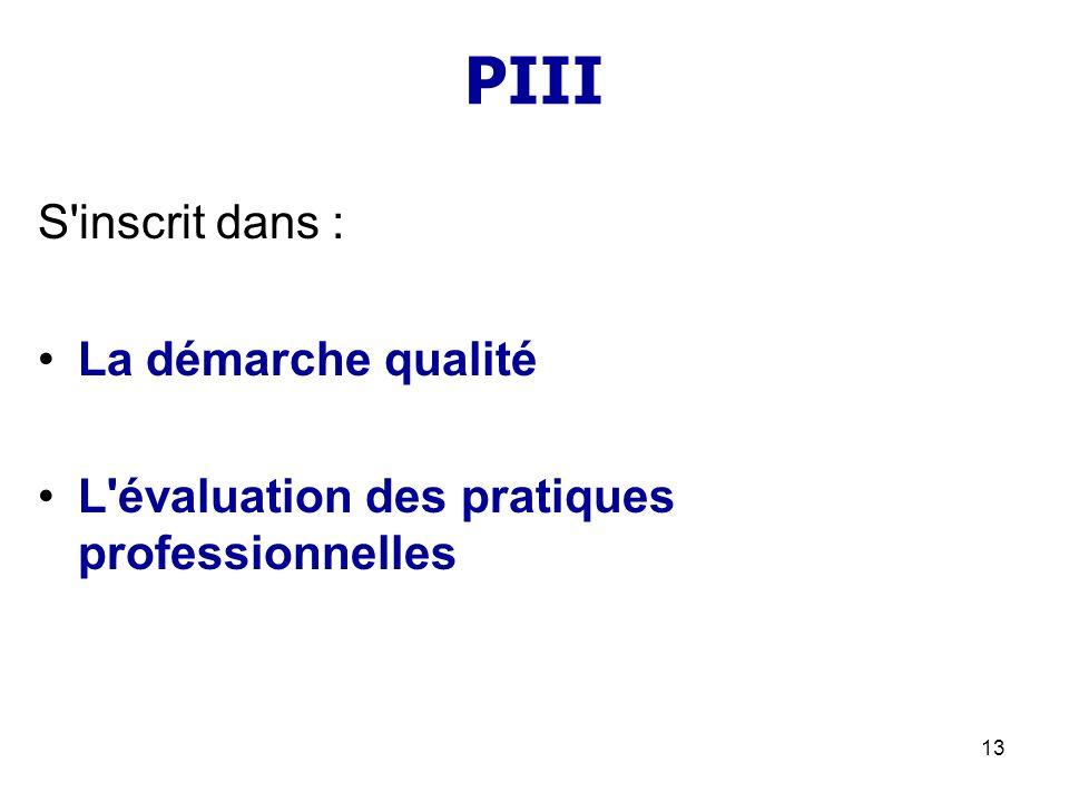 PIII S inscrit dans : La démarche qualité