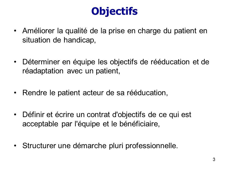 Objectifs Améliorer la qualité de la prise en charge du patient en situation de handicap,