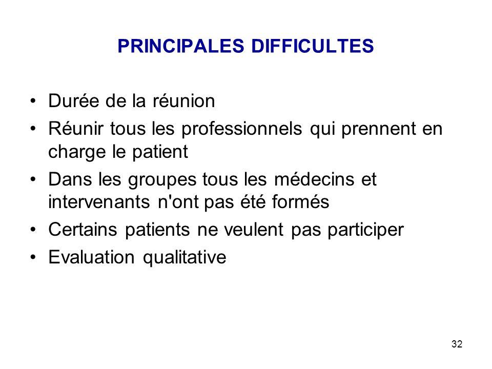 PRINCIPALES DIFFICULTES