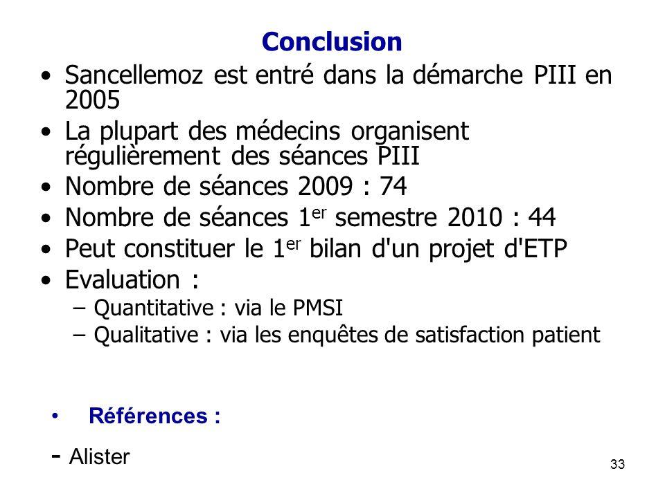 Conclusion Sancellemoz est entré dans la démarche PIII en 2005. La plupart des médecins organisent régulièrement des séances PIII.