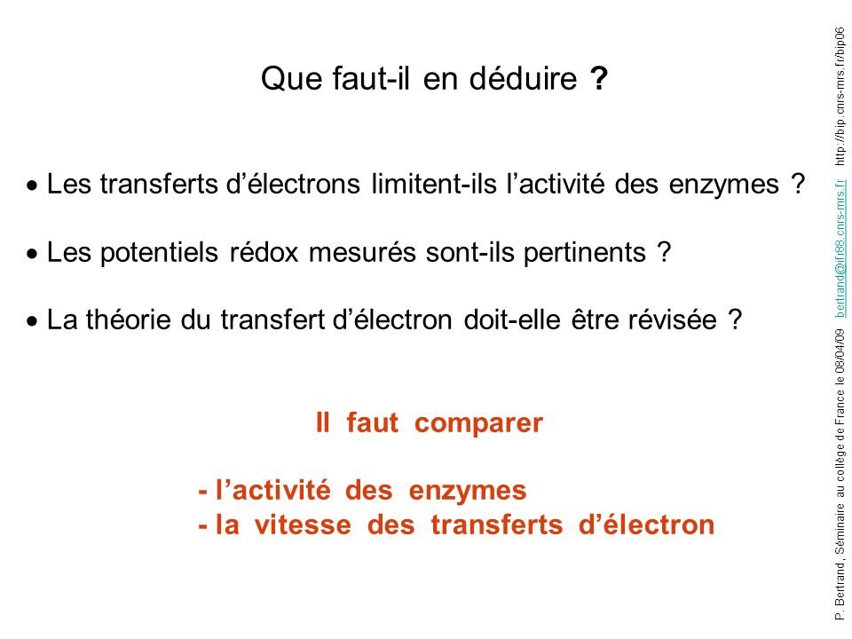 Les transferts d'électrons limitent-ils l'activité des enzymes