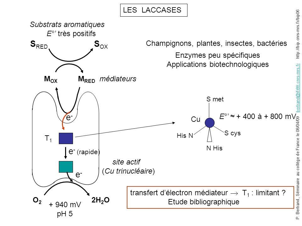 SRED SOX e- e- (rapide) e- LES LACCASES Substrats aromatiques