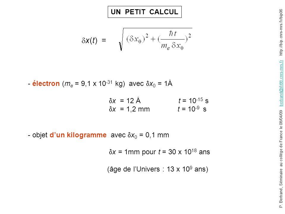 x(t) = UN PETIT CALCUL - électron (me = 9,1 x 10-31 kg) avec x0 = 1Å