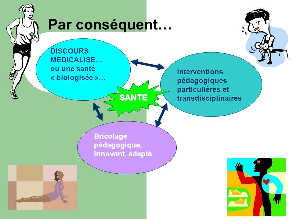 Par conséquent… DISCOURS MEDICALISE… ou une santé « biologisée »… Interventions pédagogiques particulières et transdisciplinaires.