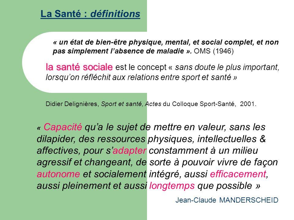 La Santé : définitions « un état de bien-être physique, mental, et social complet, et non pas simplement l'absence de maladie ». OMS (1946)
