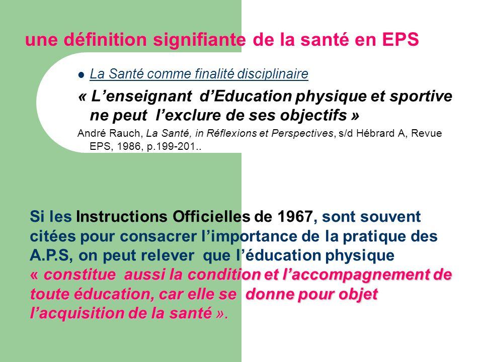 une définition signifiante de la santé en EPS