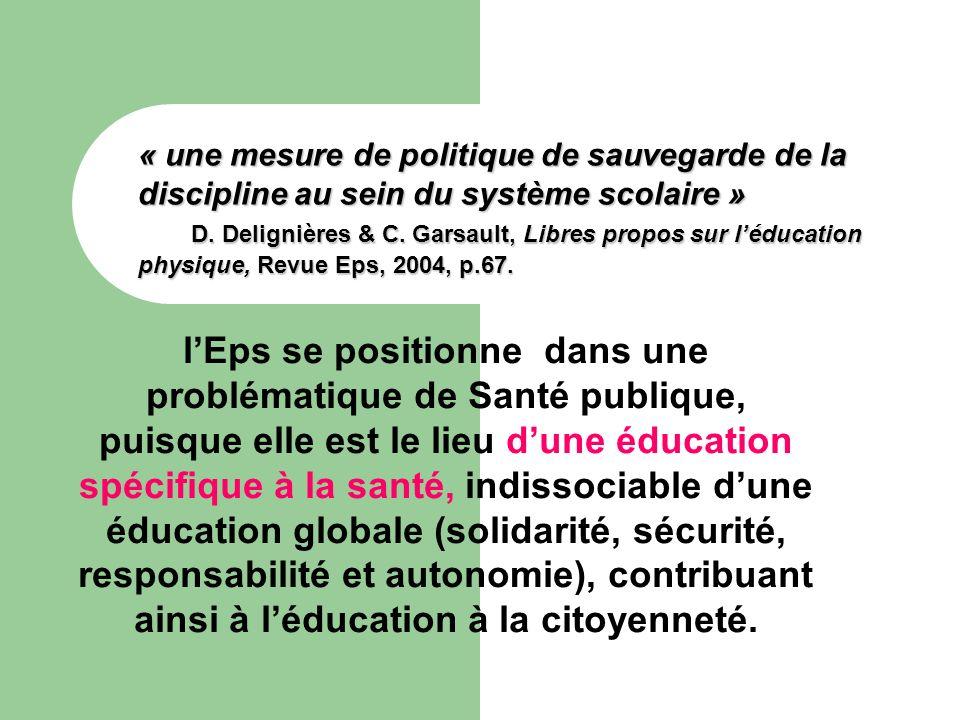 « une mesure de politique de sauvegarde de la discipline au sein du système scolaire » D. Delignières & C. Garsault, Libres propos sur l'éducation physique, Revue Eps, 2004, p.67.