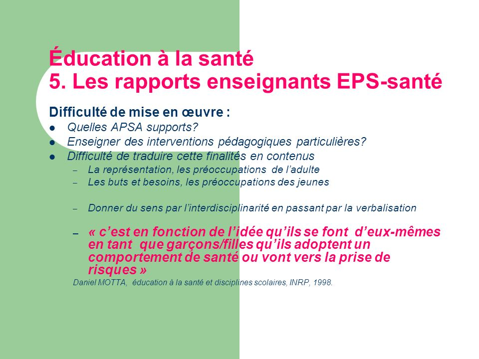 Éducation à la santé 5. Les rapports enseignants EPS-santé