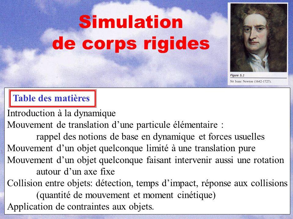 Simulation de corps rigides