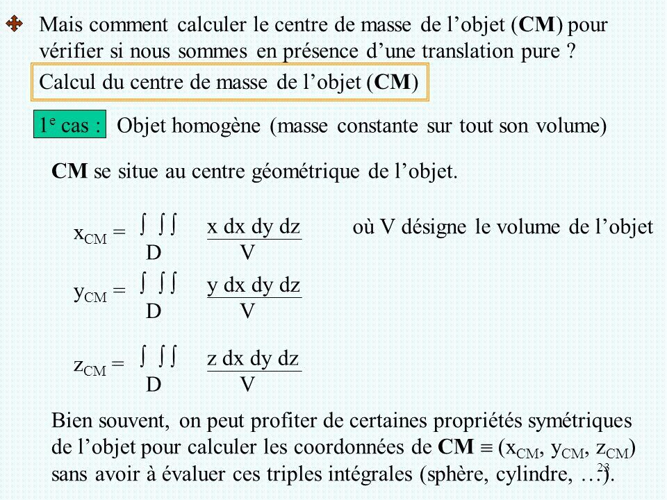 Mais comment calculer le centre de masse de l'objet (CM) pour