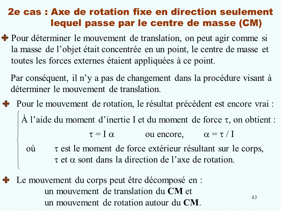 2e cas : Axe de rotation fixe en direction seulement
