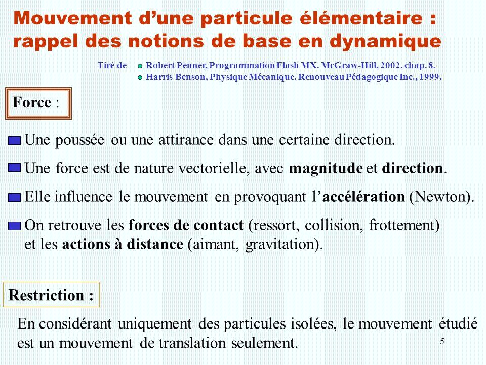 Mouvement d'une particule élémentaire : rappel des notions de base en dynamique