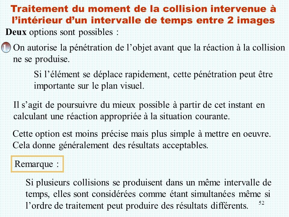 Traitement du moment de la collision intervenue à l'intérieur d'un intervalle de temps entre 2 images