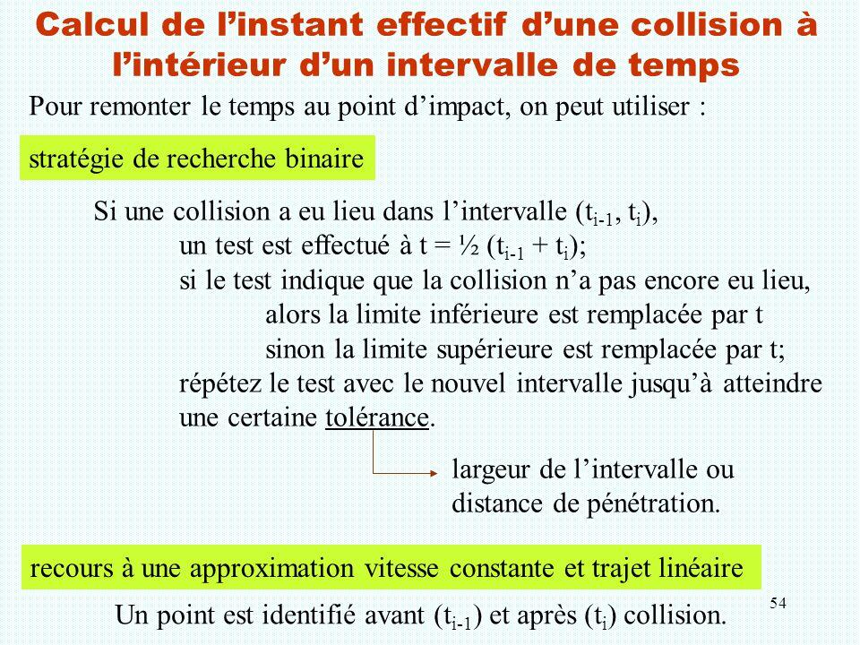 Calcul de l'instant effectif d'une collision à l'intérieur d'un intervalle de temps