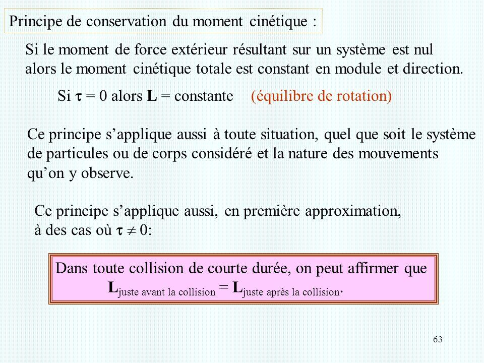 Principe de conservation du moment cinétique :