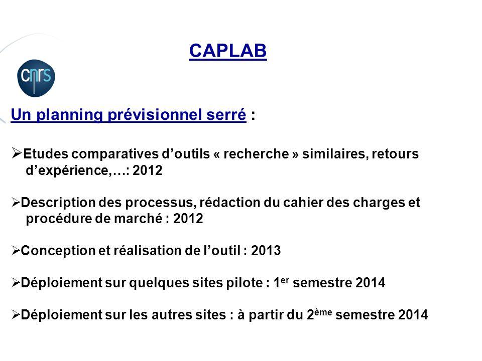 CAPLAB Un planning prévisionnel serré :