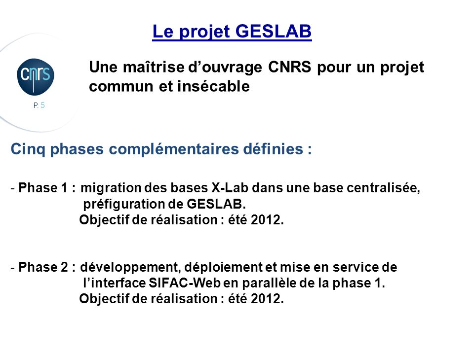 Le projet GESLABUne maîtrise d'ouvrage CNRS pour un projet commun et insécable. Cinq phases complémentaires définies :