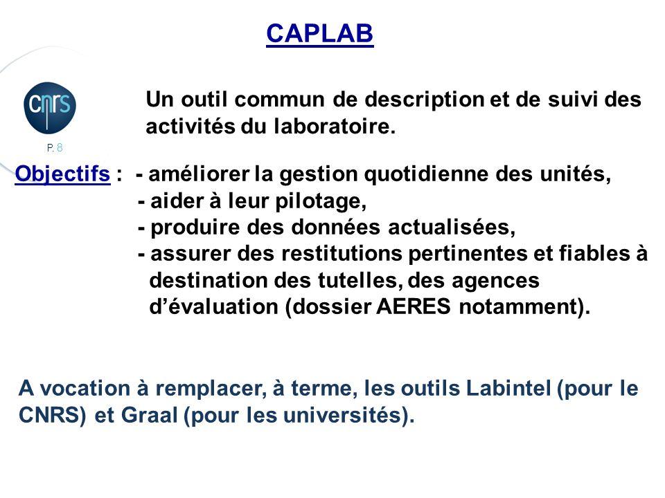 CAPLAB Un outil commun de description et de suivi des
