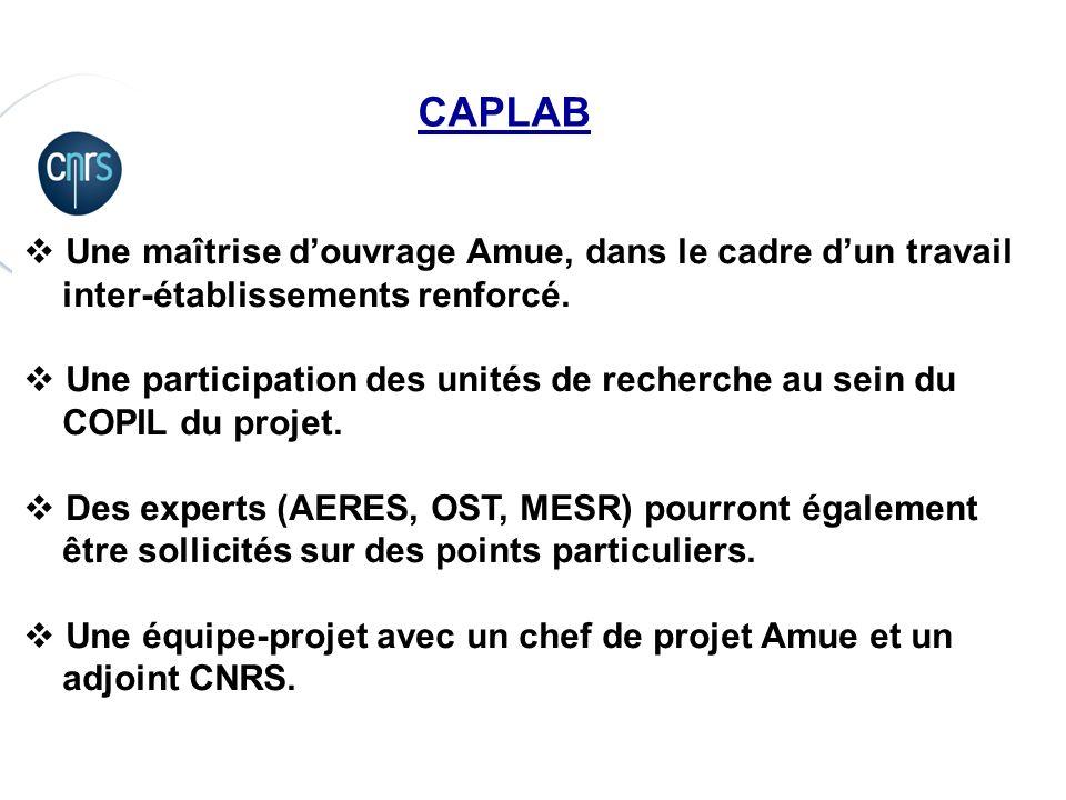 CAPLAB Une maîtrise d'ouvrage Amue, dans le cadre d'un travail