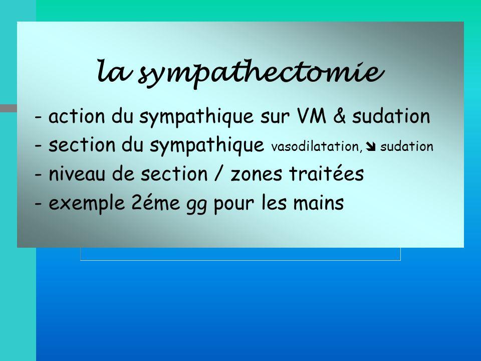 - section du sympathique vasodilatation,  sudation