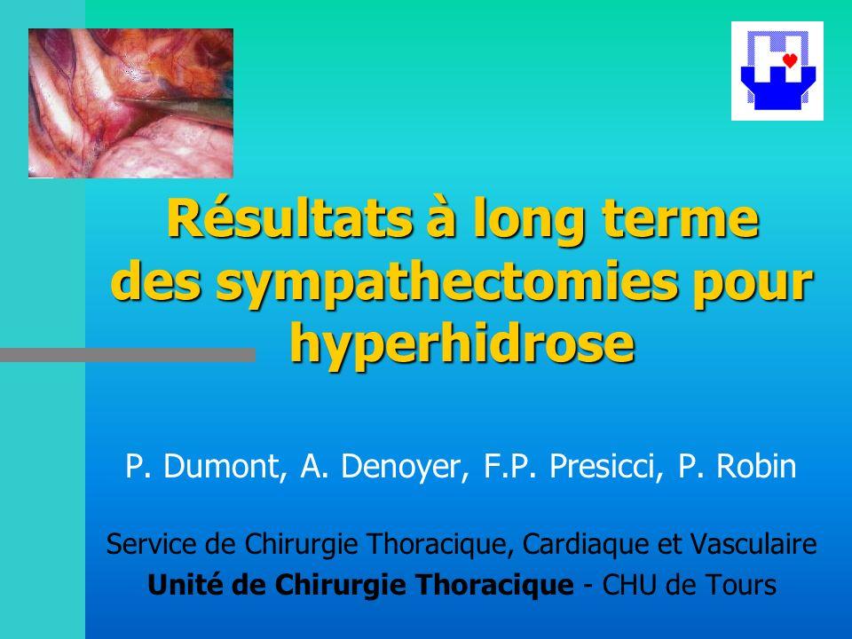 Résultats à long terme des sympathectomies pour hyperhidrose