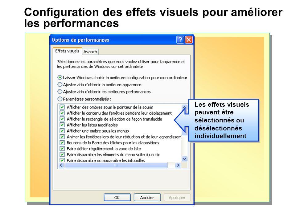 Configuration des effets visuels pour améliorer les performances